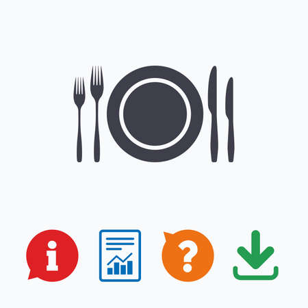 eating questions: Plate dish with forks and knifes. Eat sign icon. Cutlery etiquette rules symbol. Information think bubble, question mark, download and report.