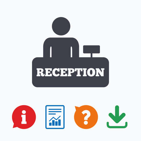 reception table: Reception sign icon. Hotel registration table with administrator symbol. Information think bubble, question mark, download and report. Illustration