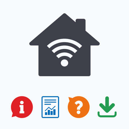 wireless network: Home Wifi sign. Wifi symbol. Wireless Network icon. Wifi zone. Information think bubble, question mark, download and report.