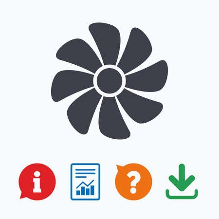 ventilation: Ventilation sign icon. Ventilator symbol. Information think bubble, question mark, download and report. Illustration