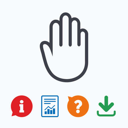give me five: Hand sign icon. No Entry or stop symbol. Give me five. Information think bubble, question mark, download and report.
