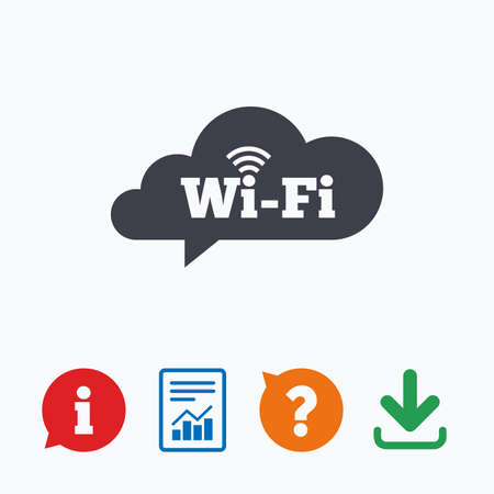 free speech: Free wifi sign. Wifi symbol. Wireless Network icon. Wifi zone. Information think bubble, question mark, download and report. Illustration