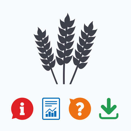 allergy questions: Agricultural sign icon. Gluten free or No gluten symbol. Information think bubble, question mark, download and report.