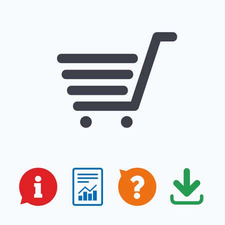 shopping questions: Shopping Cart sign icon. Online buying button. Information think bubble, question mark, download and report.