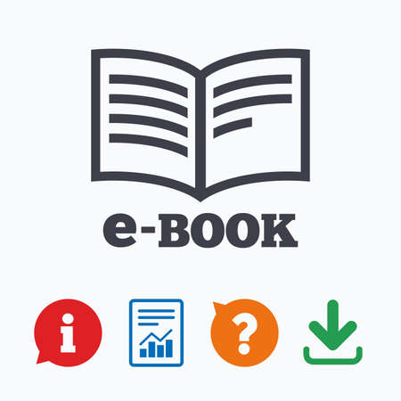 book mark: E-Book sign icon. Electronic book symbol. Ebook reader device. Information think bubble, question mark, download and report. Illustration