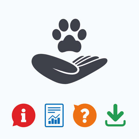 shelter: Shelter pets sign icon. Hand holds paw symbol. Animal protection. Information think bubble, question mark, download and report.