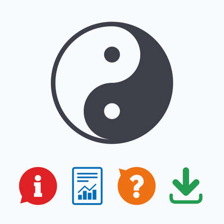 daoism: Ying yang sign icon. Harmony and balance symbol. Information think bubble, question mark, download and report.