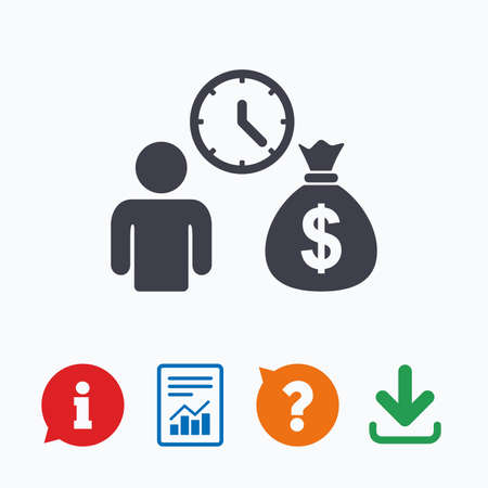 loans: Bank loans sign icon. Get money fast symbol. Borrow money. Information think bubble, question mark, download and report. Illustration