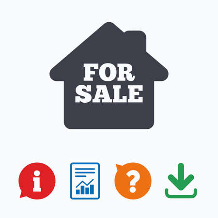 trading questions: For sale sign icon. Real estate selling. Information think bubble, question mark, download and report. Illustration