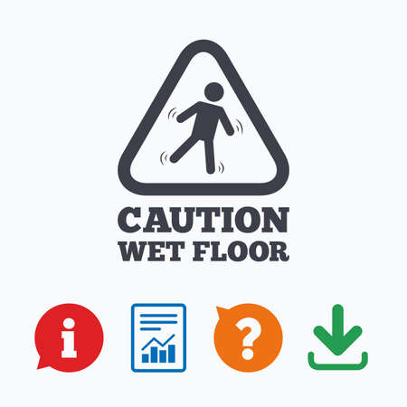 wet floor caution sign: Caution wet floor sign icon. Human falling triangle symbol. Information think bubble, question mark, download and report.