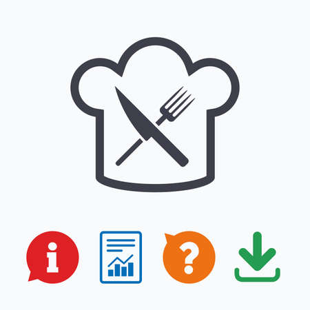 eating questions: Chef hat sign icon. Cooking symbol. Cooks hat with fork and knife. Information think bubble, question mark, download and report.