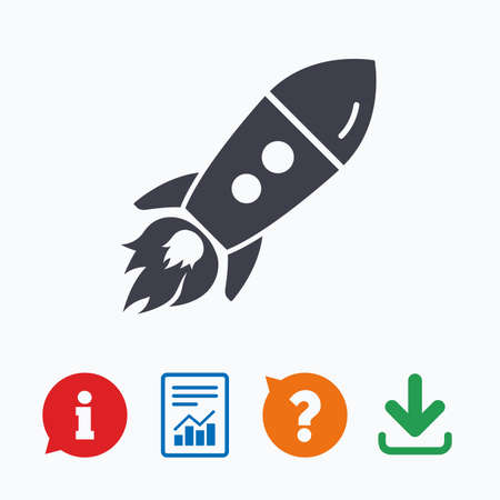 think up: Start up icon. Startup business rocket sign. Information think bubble, question mark, download and report.