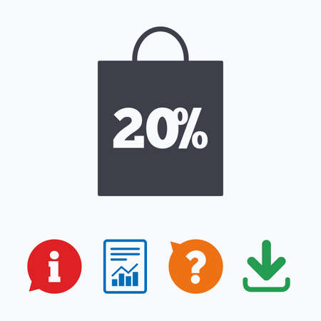 shopping questions: 20% sale bag tag sign icon. Discount symbol. Special offer label. Information think bubble, question mark, download and report.