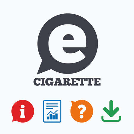vaporizer: Smoking sign icon. E-Cigarette symbol. Electronic cigarette. Information think bubble, question mark, download and report. Illustration