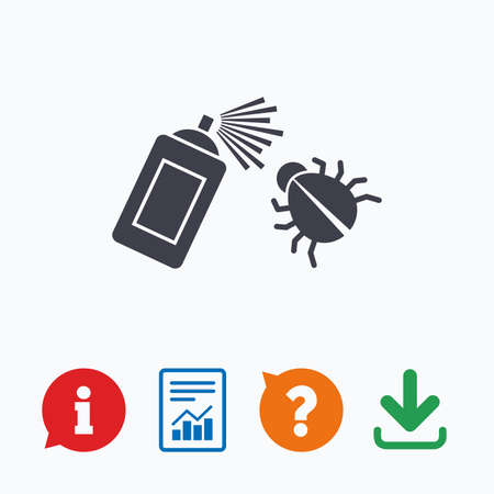 disinfection: Bug disinfection sign icon. Fumigation symbol. Bug sprayer. Information think bubble, question mark, download and report.
