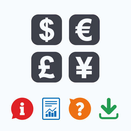 currency converter: Currency exchange sign icon. Currency converter symbol. Money label. Information think bubble, question mark, download and report. Illustration