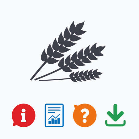 Agricultural sign icon. Gluten free or No gluten symbol. Information think bubble, question mark, download and report.