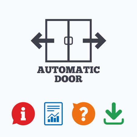 door sign: Automatic door sign icon. Auto open symbol. Information think bubble, question mark, download and report.
