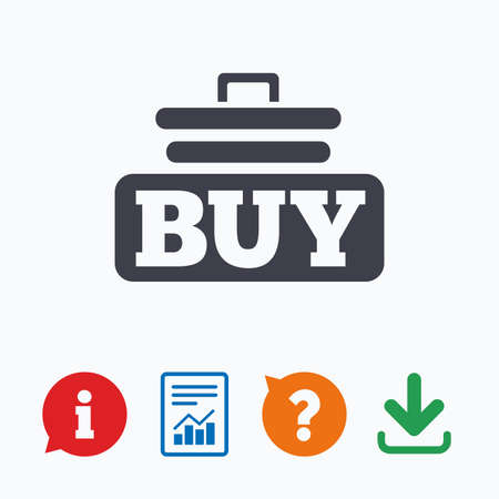 cart button: Buy sign icon. Online buying cart button. Information think bubble, question mark, download and report. Illustration