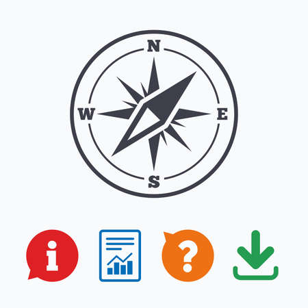 wind of rose: Compass sign icon. Windrose navigation symbol. Information think bubble, question mark, download and report.