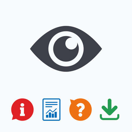 publish: Eye sign icon. Publish content button. Visibility. Information think bubble, question mark, download and report. Illustration
