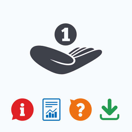 endowment: Donation hand sign icon. Hand holds coin. Charity or endowment symbol. Human helping hand palm. Information think bubble, question mark, download and report. Illustration