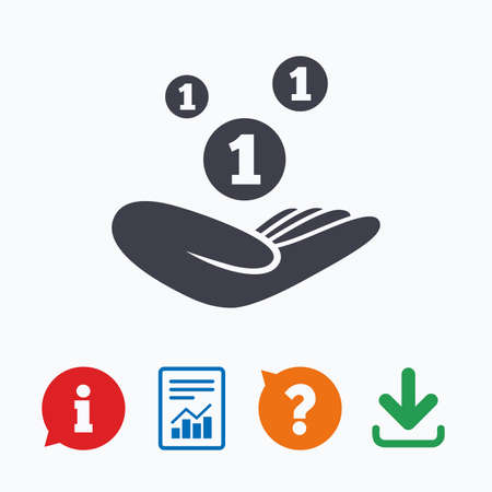 endowment: Donation hand sign icon. Hand holds coins. Charity or endowment symbol. Human helping hand palm. Information think bubble, question mark, download and report.