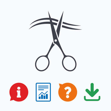 cut hair: Scissors cut hair sign icon. Hairdresser or barbershop symbol. Information think bubble, question mark, download and report.