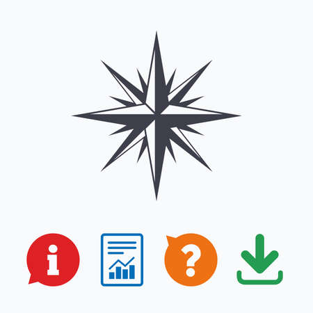 navigation mark: Compass sign icon. Windrose navigation symbol. Information think bubble, question mark, download and report.