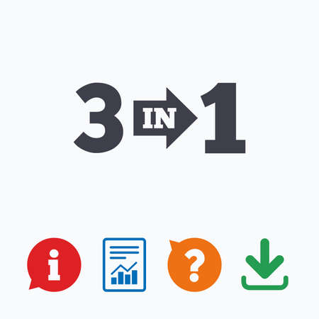 suite: Three in one suite sign icon. 3 in 1 symbol with arrow. Information think bubble, question mark, download and report.