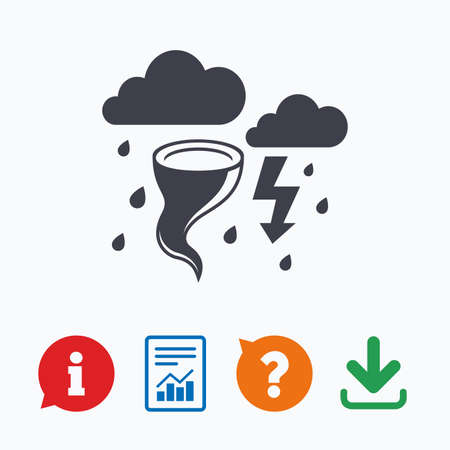 weather report: Storm bad weather sign icon. Clouds with thunderstorm. Gale hurricane symbol. Destruction and disaster from wind. Insurance symbol. Information think bubble, question mark, download and report.