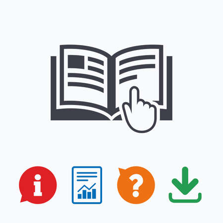 report icon: Instruction sign icon. Manual book symbol. Read before use. Information think bubble, question mark, download and report.