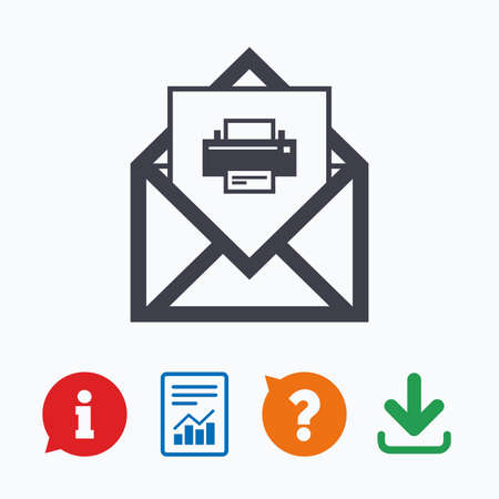 navigation mark: Mail print icon. Envelope symbol. Message sign. Mail navigation button. Information think bubble, question mark, download and report. Illustration