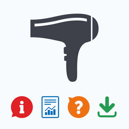 blow drying: Hairdryer sign icon. Hair drying symbol. Information think bubble, question mark, download and report.