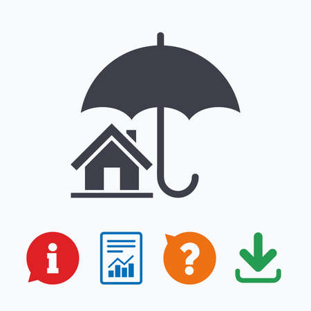 belay: Home insurance sign icon. Real estate insurance symbol. Information think bubble, question mark, download and report.