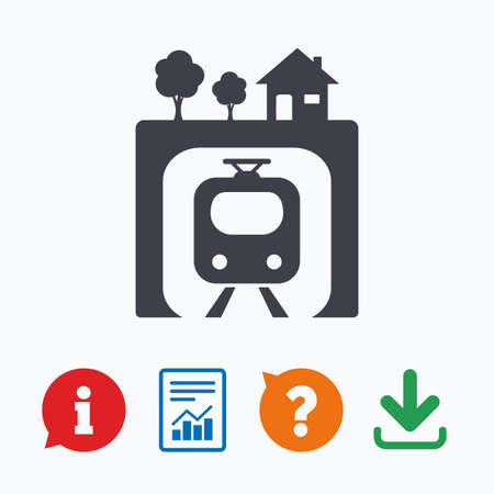 metro train: Underground sign icon. Metro train symbol. Information think bubble, question mark, download and report.
