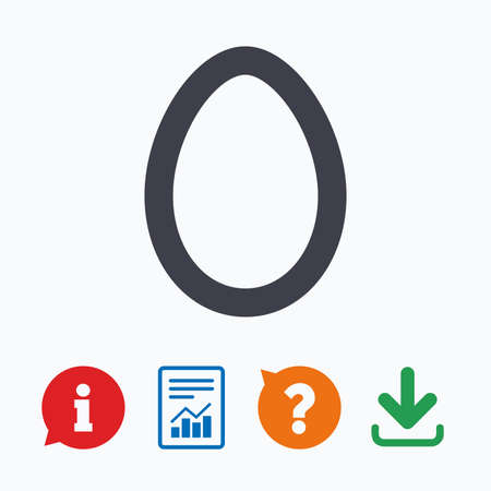 Easter egg sign icon. Easter tradition symbol. Information think bubble, question mark, download and report. Illustration