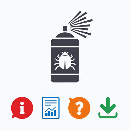 fumigation: Bug disinfection sign icon. Fumigation symbol. Bug sprayer. Information think bubble, question mark, download and report.