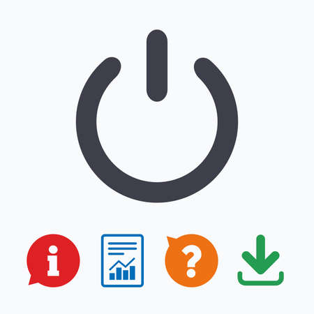 quality questions: Power sign icon. Switch on symbol. Turn on energy. Information think bubble, question mark, download and report. Illustration