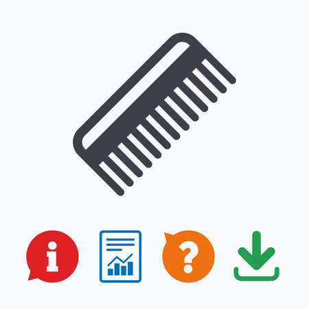 comb hair: Comb hair sign icon. Barber symbol. Information think bubble, question mark, download and report. Illustration