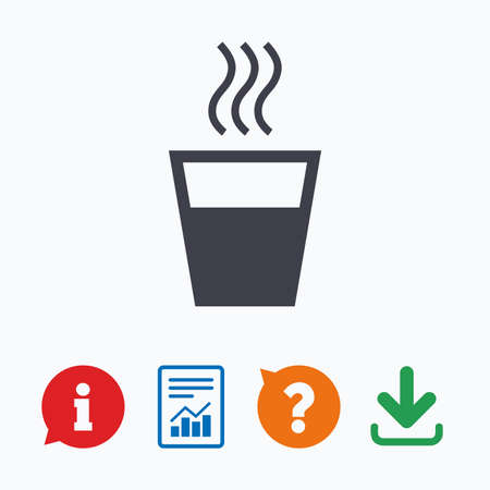 evaporation: Hot water sign icon. Hot drink glass symbol. Information think bubble, question mark, download and report.