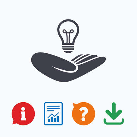 intellectual: Idea patent insurance sign. Hand holds lamp bulb symbol. Intellectual Property. Information think bubble, question mark, download and report.