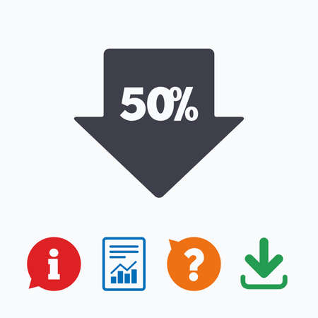 asking: 50% sale arrow tag sign icon. Discount symbol. Special offer label. Information think bubble, question mark, download and report. Illustration
