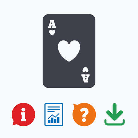ace of hearts: Casino sign icon. Playing card symbol. Ace of hearts. Information think bubble, question mark, download and report.