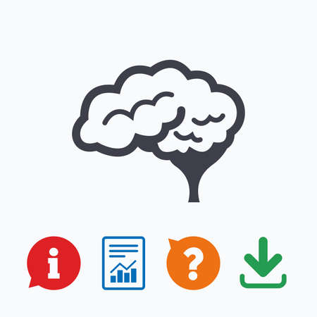 cerebellum: Brain with cerebellum sign icon. Human intelligent smart mind. Information think bubble, question mark, download and report. Illustration