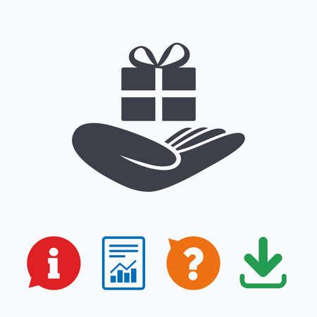 dar un regalo: Dar un icono de señal de regalo. La mano sostiene el cuadro actual con arco. Información pensar burbuja, signo de interrogación, la descarga y el informe. Vectores