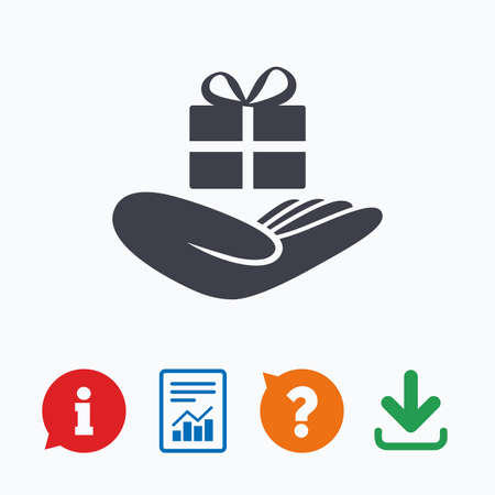dar un regalo: Give a gift sign icon. Hand holds present box with bow. Information think bubble, question mark, download and report.