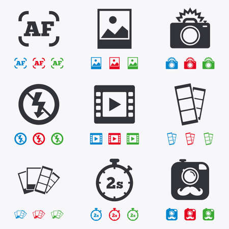 Photo, video icons. Camera, photos and frame signs. No flash, timer and strips symbols. Flat black, red, blue and green icons. Illustration