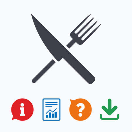 restaurant questions: Food sign icon. Cutlery symbol. Knife and fork. Information think bubble, question mark, download and report. Illustration