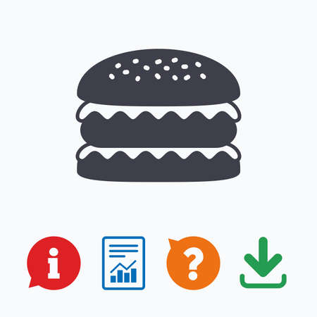 eating questions: Hamburger icon. Burger food symbol. Cheeseburger sandwich sign. Information think bubble, question mark, download and report.